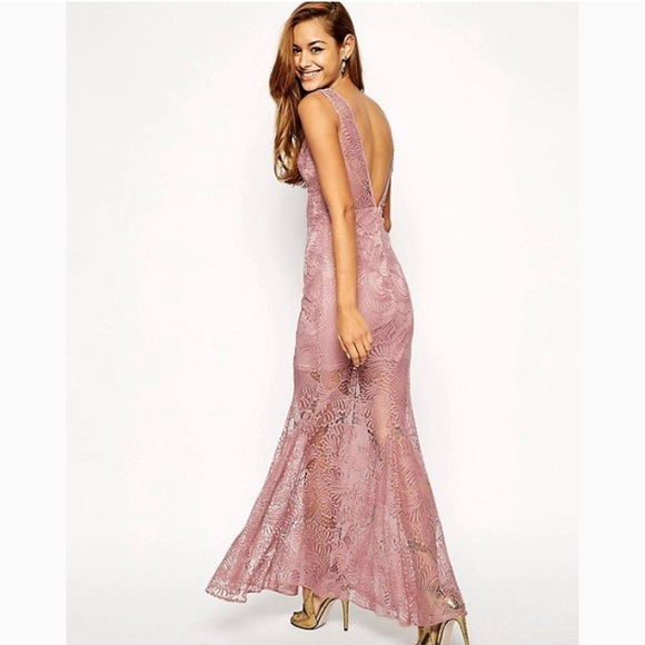 a232d0ebe33 Rebecca Taylor Sheer Dusty Pink Lace Maxi Dress. M 5b315ed68ad2f993b252623d